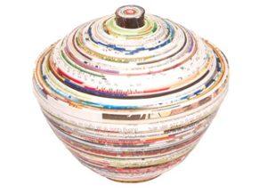 Boite ronde en papier roulé